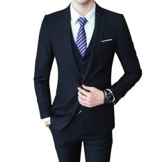 2017 Musim Gugur Baru Kedatangan Pria Casual 3 Pieces Suit Set Gaya Korea Pernikahan Pestaperapi Jaket Celana Rompi Set- INTL