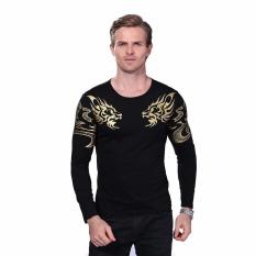 2017 Musim Gugur Baru High-end Pria Kaos Bermerk Fashion Slim Dragon Percetakan Suasana T Shirt Plus Ukuran Panjang Lengan T Shirt Pria-Intl