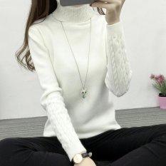 2017 Musim Gugur Musim Dingin Casual Slim Elastis Rajut Berleher Tinggi Wanita Mantel Penebalan Hangat Merajut Sweater Dan Pullovers Untuk Wanita Murah