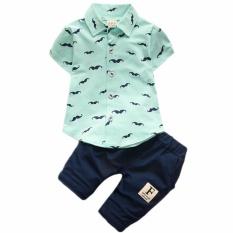 2017 Baby Boys Clothing Set Cotton Baby Kids Clothing T-shirt+Pants 2Pcs Boy Gentleman Suit(blue)