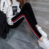 Jual Katun Pinggang Tinggi Bar Olahraga Celana Musim Gugur Legging Merah Dan Putih Stripe A Model Hitam Merah Dan Putih Stripe A Model Hitam Online Tiongkok