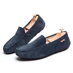 2017 Casual Suede Kulit Asli Loafers Pria Flats Moccasins Man Slip-On Loafers Sepatu Fashion Huarache Sepatu-501 -359 (Biru) -Intl