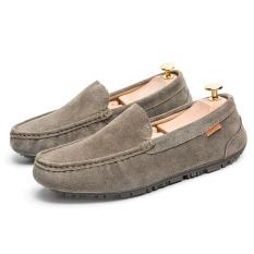 2017 Casual Suede Kulit Asli Loafers Pria Flats Moccasins Man Slip-On Loafers Sepatu Fashion Huarache Sepatu-501 -359 (Khaki) -Intl