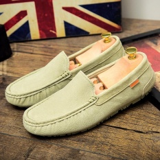 2017 Casual Suede Kulit Asli Loafers Pria Flats Moccasins Man Slip-On Loafers Sepatu Fashion Huarache Sepatu-501 -359 (Hijau Muda) -Intl