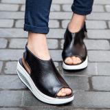 Harga 2017 Lepas Kulit Asli Sandal Wanita Fashion Wanita Sepatu Platform Ci Ujung Kaki Hitam Branded