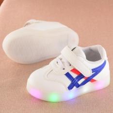 Awal Musim Gugur Baru Ayat Sports GIRL Sepatu Boy Casual Sepatu LED Berkedip Lampu Piring Sepatu Sepatu Putih Kecil Tahan Air PU Sepatu EU21-EU30 (Biru) -Intl
