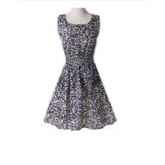 2017 Eropa dan Amerika Serikat Musim Panas Ukuran Besar Rompi Rok Pendek Motif Rok Sleeveless Dress (03) -Intl