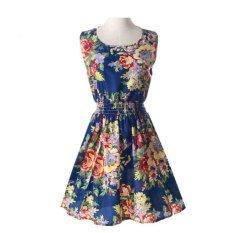 2017 Eropa dan Amerika Serikat Musim Panas Ukuran Besar Rompi Rok Pendek Motif Rok Sleeveless Dress (25) -Intl