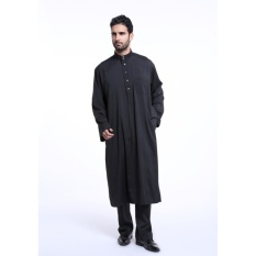 2017 Fashion Men Muslim Wear Jubahs Poly Cotton Shirt Collar Shirt+ Trousers Suit Black