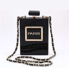 2017 Modis Baru Wanita Tas Paris Parfum Botol Akrilik Clutch Dompet Tas Tangan Silang Badan Kurir Tas Kasual Bahu Tas- internasional