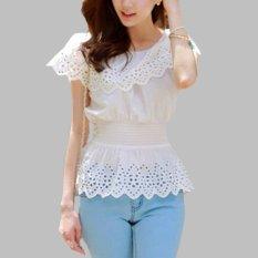2017 Fashion Baru Wanita Musim Panas Blus Lepas dari Bahu Lengan Pendek Dicungkil Kasual Putih Kemeja Slim Cocok Atas PLUS Ukuran Better Blusas-Internasional