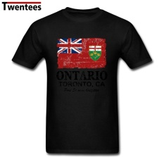 2017 Modis Lengan Pendek Kapas Organik Kanada Ontario Bendera Musim Panas Kaus Pria Kaus Homme (Hitam) -Internasional