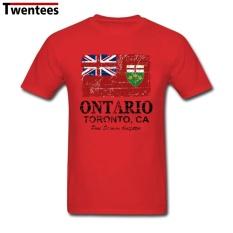 2017 Fashion Short Sleeve Organic Cotton Canada Ontario Flag Summer T Shirt Men T Shirt Homme (Red) - intl