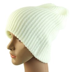 2017 FT Eropa Unisex Dewasa Pria Wanita Kupluk Rajut Hangat Musim Dingin Ski Slouchy Soft Solid Cap Hat (Putih) -Intl