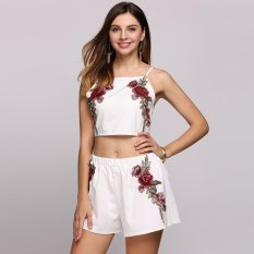 Jual Beli 2017 Ft Spaghetti Strap Embroidery Back Lace Up Crop Top And Shorts Set White Intl Tiongkok