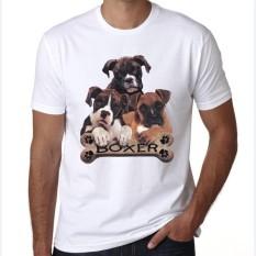 2017 Lucu Boxer Anjing Dicetak Musim Panas Pria/Boy Custom Animal Novelty Fitness Mens Tops T-Shirt Putih-Intl