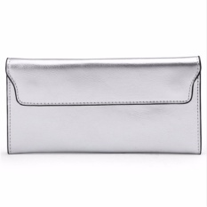 Review 2017 Genuine Leather Women Wallet Long Purse Vintage Solid Cowhide Multiple Cards Holder Clutch Fashion Standard Wallet Intl