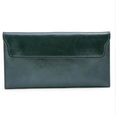 Jual 2017 Genuine Leather Women Wallet Long Purse Vintage Solid Cowhide Multiple Cards Holder Clutch Fashion Standard Wallet Intl Grosir