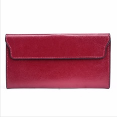 2017 Genuine Leather Women Wallet Long Purse Vintage Solid Cowhide Multiple Cards Holder Clutch Fashion Standard Wallet Intl Terbaru