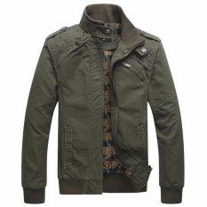 Ulasan Lengkap 2017 Hot Sale Mens Fashion Kualitas Tinggi Slim Fit Capped Jaket Pria Hijau Tentara Intl