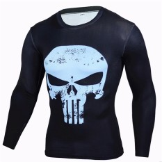 2017 Hot Sales -3D Print Fashion High Elasticity Tight Sweat-Drying Men Sports Fitness Compression Shirts Long Sleeve T-Shirts Running Tops Shirts Gym Crossfit (Punisher, Blue) - intl
