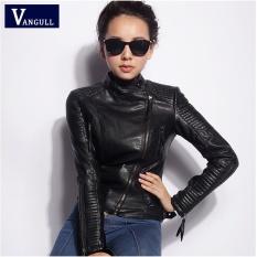2017 Panas Jual Musim Semi dan Musim Gugur Fashion Faux Leather Motorcycle Pakaian Desain Wanita Langsing Lambang Pendek Wanita PU Jaket Plus Ukuran Lebih-Internasional
