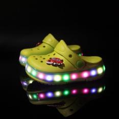 2017 Kaxiuer Musim Panas Lampu LED Baru Anak's Sepatu Lubang Sepatu Boy And Girl Sandal Pantai Sepatu Sepatu Warna-warni (kuning) -Intl