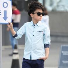 2017 Kids Pakaian Musim Semi Boys Cotton Blus Boy Kids Long Sleeve Shirt Boys Fashion Musim Semi Kemeja Kerah Yg Terlipat Ke Bawah Kerah -Intl