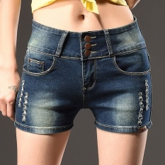 2017 Korea Fashion Wanita Tinggi Pinggang Musim Panas Ukuran Plus Robek Tertekan Pocket Button Up Hot Pants Stretchy Celana Denim (biru Tua) -Intl
