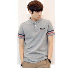 Jual Beli 2017 Korean Style Summer Men S Pure Cotton Polo Shirt Grey Intl Tiongkok
