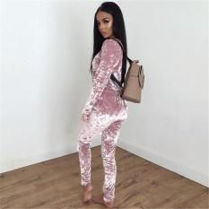 2017 Wanita Kasual Sportswear Amiantus Atasan Lengan Panjang dan Celana Berkualitas Tinggi Bata Dua Piece (Pink) -Intl