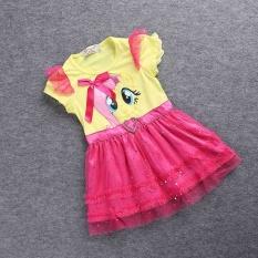2017 Sedikit Perempuan Modis Baru Warna Kasa Gaun Gadis Tutu Gaun My Pony Anak Kartun Putri Bayi Renda Payet Gaun -Internasional