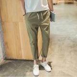 Jual Beli 2017 Fashion Pria Sembilan Poin Celana Katun Linen Longgar Pinggang Tengah Harlan Intl Tiongkok