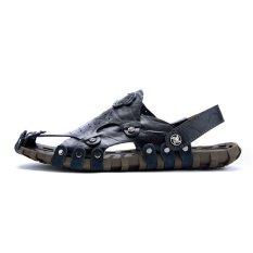 Harga 2017 Pria Kulit Sandal Baru Sandal Pria Musim Panas Sandal Terkena Toe Sepatu Kasual Pria Beach Intl