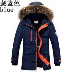 Jual 2017 Mens Musim Dingin Bulu Berkerudung Jaket Biru Navy Intl Tiongkok