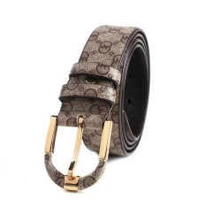 Laki-laki 2017 Baru Merek Asli Kulit Belt Printing Vintage Pria Pin Buckle Belt Luxury Designer Cinto Macho SD041- INTL