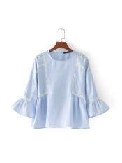 ZA Eropa dan Amerika angin baru tanduk lengan renda blus (Seperti gambar) (Seperti gambar) baju wanita baju atasan kemeja wanita