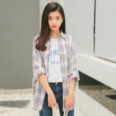 Obral Longgar Korea Fashion Style Merah Dan Putih Perempuan Baru Lengan Panjang Jas Kotak Kotak Kemeja Biru Murah