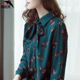 Jual Bunga Korea Fashion Style Sifon Lengan Panjang Wanita Bawahan Kemeja Kemeja Hijau Model Konvensional Branded Original
