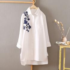 Jual Mantel Tipis Liar Musim Semi Dan Musim Gugur Bordir Kemeja Putih Bahu Bordir Bunga Model Murah Di Tiongkok