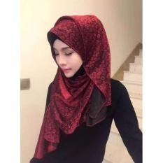 2017 Kerudung Muslim Dicetak Instan Syal Jersey Syal Kain Sifon Amiraslip Di Syal Wraps Wanita HeadbandLength100cm-135cm Merah-Intl