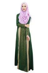 2017 Muslim Womens Abaya Dress O-Neck Long Sleeve Floor Length Loose Muslim Kaftan Hijab Abaya Fashion Dubai Turkish Style Dress(Green)