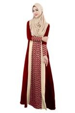 2017 Muslim Wanita Gaun Abaya O-leher Lengan Panjang Lantai Panjang Longgar Muslim Kaftan Hijab Abaya Dubai Turkish Style Dress (merah) -Intl
