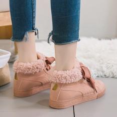 Harga 2017 Baru All Match Female Siswa Musim Dingin Katun Sepatu Dengan Kasual Datar Hangat Boots High Boots For Female Tabung Pendek Intl Yang Bagus