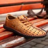 Model 2017 Baru Kedatangan Kulit Asli Mewah Merek Musim Panas Pria Sepatu Santai Kualitas Tinggi Bernapas Lubang Intl Terbaru