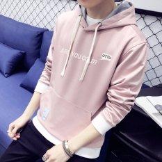 Toko 2017 Kedatangan Baru Top Quality Cotton Bertudung Kasual Merek Muda Pria Hoodies Mewah Pria Musim Semi Musim Gugur Musim Gugur Fashion Sweatshirts Pink Intl Terlengkap Tiongkok