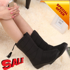 2017 New Arrival Musim Dingin Wanita Salju Boots Fashion Medium Tube Lereng Dengan Hangat Plus Velvet Boots Tahan Air Anti Slip Dengan Jumbai Hitam Intl Not Available Na Diskon 40