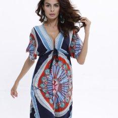 Harga Baru Boho Gaun Wanita Seksi Longgar Sundresses Deep V Etnis Dashiki Cetak Tunic Beach Dress Ukuran Besar Wanita Sundress Robe Hitam Dan Biru Internasional Yang Murah Dan Bagus