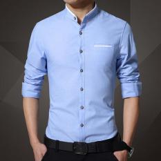 2017 New Brand Pria's Kemeja Kasual Lengan Panjang Banded Collar Mudah Perawatan Collarless Kemeja Slim Fit Dress Shirt untuk Pria Bisnis (Biru) -Intl