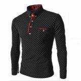 Review Pada 2017 Baru Merek Mens Dot Lengan Panjang Polo Kemeja Merek Lengan Panjang Camisas Polo Stand Collar Pria Polo Shirt Hitam Intl